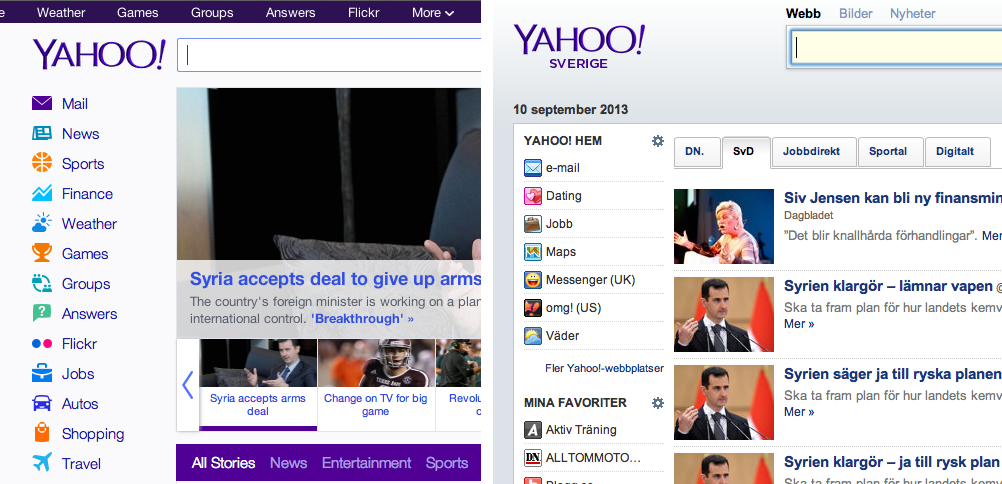 Yahoo websites