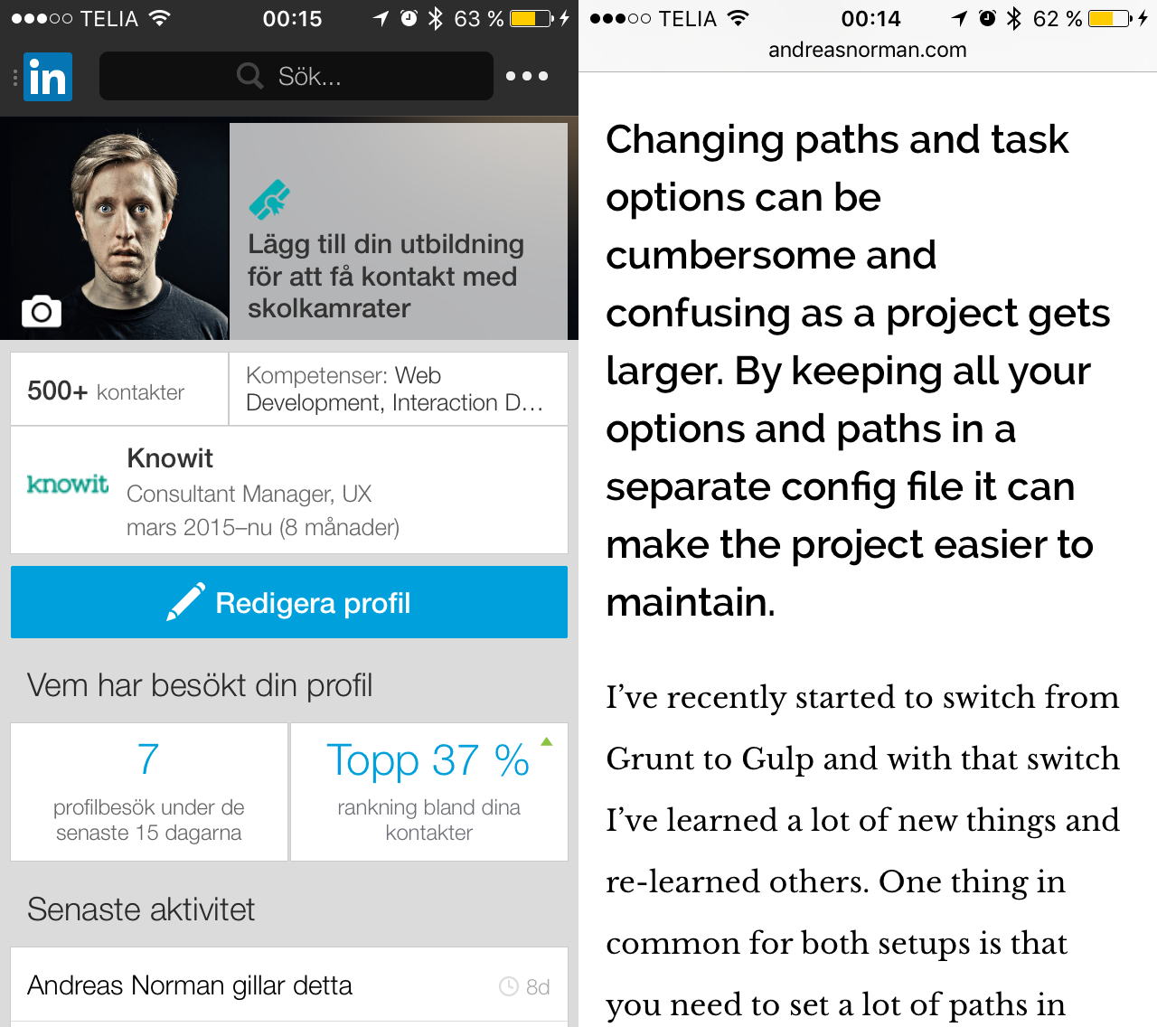 Image of Tiny text from the LinkedIn app versus my responsive blog.